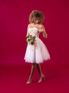 Bustier et jupe de mariée courte par Clémence Montfort